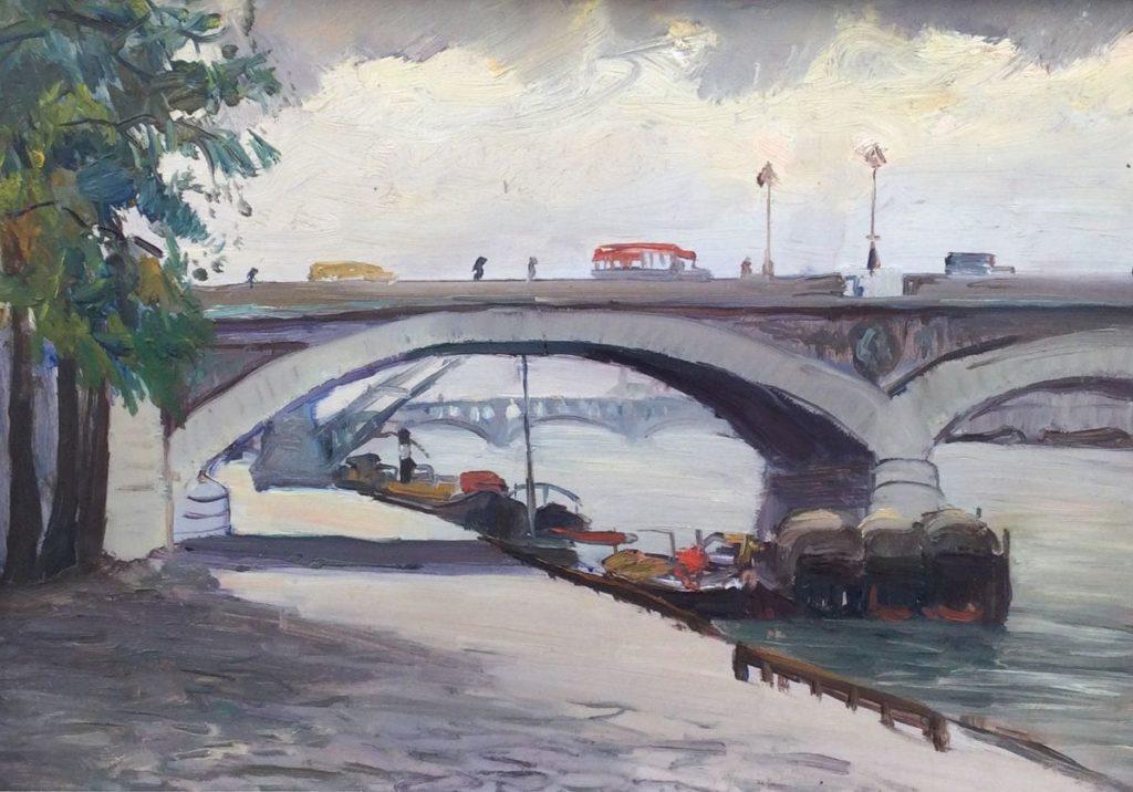schilderijen te koop van kunstschilder, Claas Prins Parijs Stadsgezicht, boten in de Seine, expositie, galerie wijdemeren breukeleveen