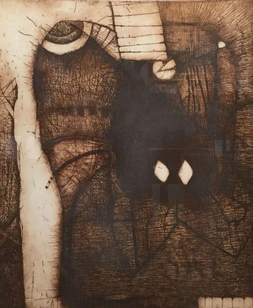 Kunst te koop bij galerie Wijdemeren van kunstenaar Guillaume Le Roy Abstracte voorstelling ets, 64 x 54 cm linksonder gesigneerd, gedateerd 1972, oplage 87/150