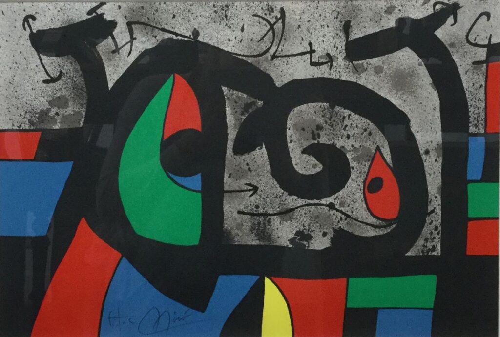 Schilderijen te koop van kunstschilder Joan Miró Abstracte voorstelling Zeefdruk, 32,5 x 48 cm l.o. gesigneerd, Expositie Galerie Wijdemeren Breukeleveen