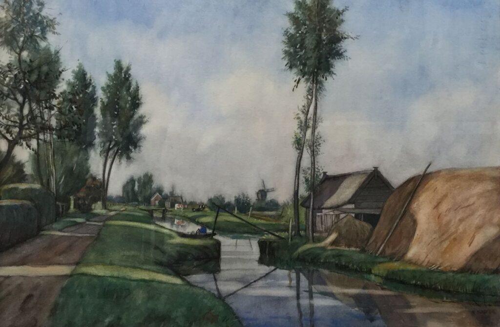 Schilderijen te koop van kunstschilder Klaas Koster boerderij aan de vaart aquarel, beeldmaat 37 x 56 cm gesigneerd, Expositie Galerie Wijdemeren Breukeleveen
