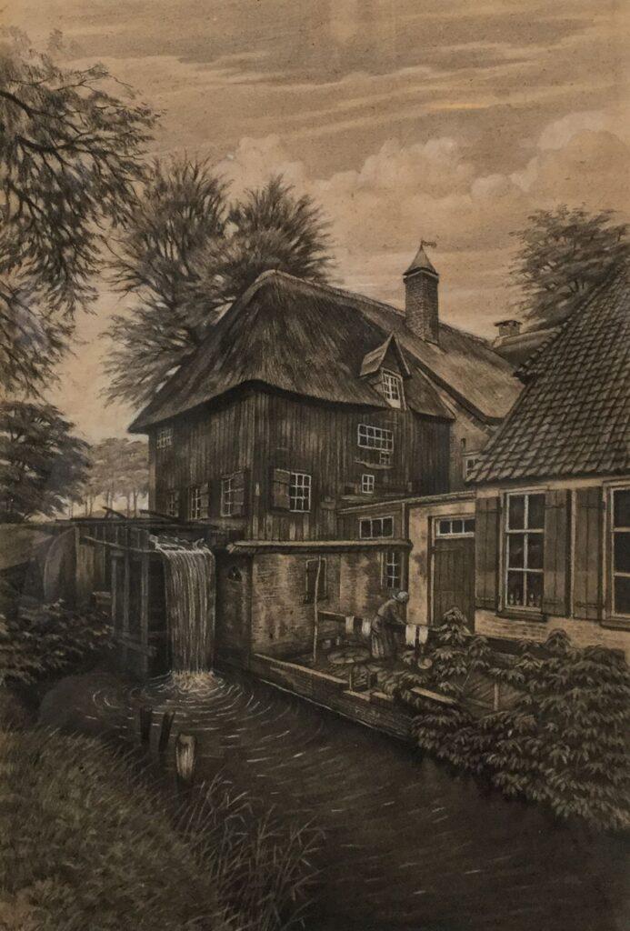 Kunstenaar Klaas Koster C3885T, Klaas Koster huis met watersluis krijttekening 55,5 x 38 cm ongesigneerd