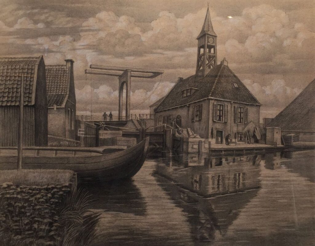 Kunstenaar Klaas Koster C3886T, Klaas Koster binnenhaventje met brug krijttekening, 43 x 55 cm ongesigneerd