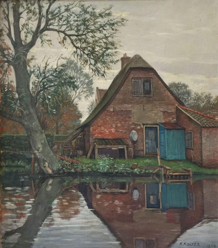 Schilderijen te koop van kunstschilder Klaas Koster Boerderij aan de vaart olie op doek rechtsonder gesigneerd 1943, Expositie Galerie Wijdemeren Breukeleveen