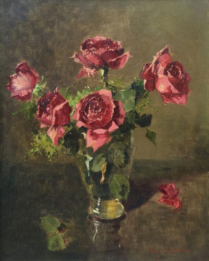 Kunstenaar Hendrik van Os - Delhez C3892-1 Henri van Os Delhez Stilleven met rozen olie op doek, 50.5 x 40.5 cm r.o. gesigneerd verkocht