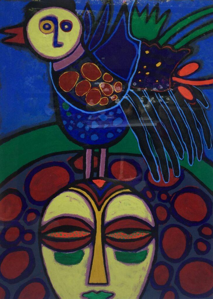 schilderijen te koop van kunstschilder, Corneille l'Oiseau (vrouw met vogel) zeefdruk, oplage 112/200 rechtsonder 'handgesigneerd en gedateerd 93, expositie, galerie wijdemeren breukeleveen