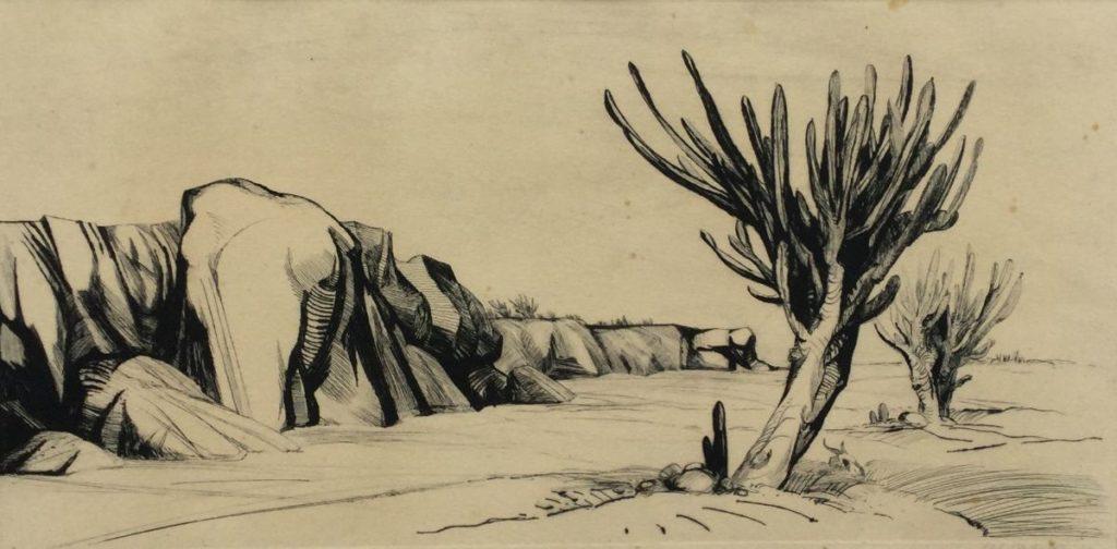 Kunst te koop bij Galerie Wijdemeren van Dick Stolwijk Woenstijnlandschap met schedel ets op papier, 22 x 44 cm rechtsonder gesigneerd en gedateerd 63