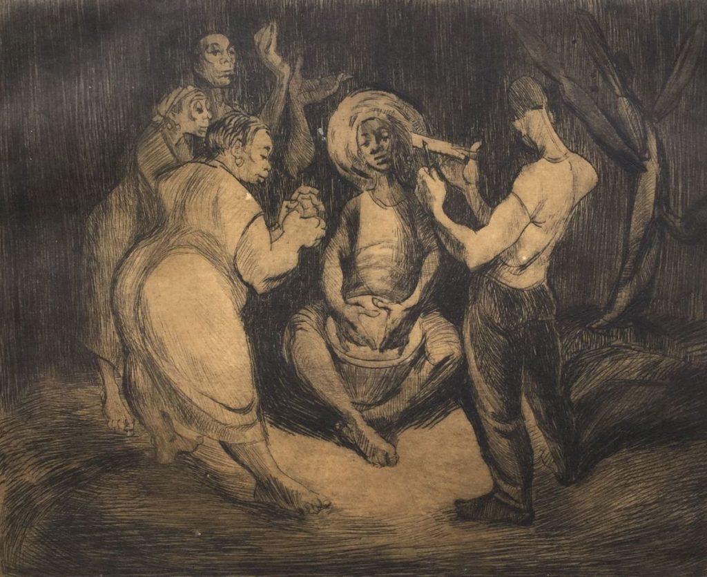 Kunst te koop bij Galerie Wijdemeren van Dick Stolwijk Dansers en muzikanten ets op papier, 15 x 18 cm