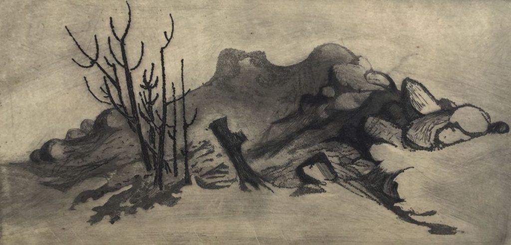Kunst te koop bij Galerie Wijdemeren van Dick Stolwijk Woestijnlandschap met rotsen ets op papier, 12,5 x 25 cm