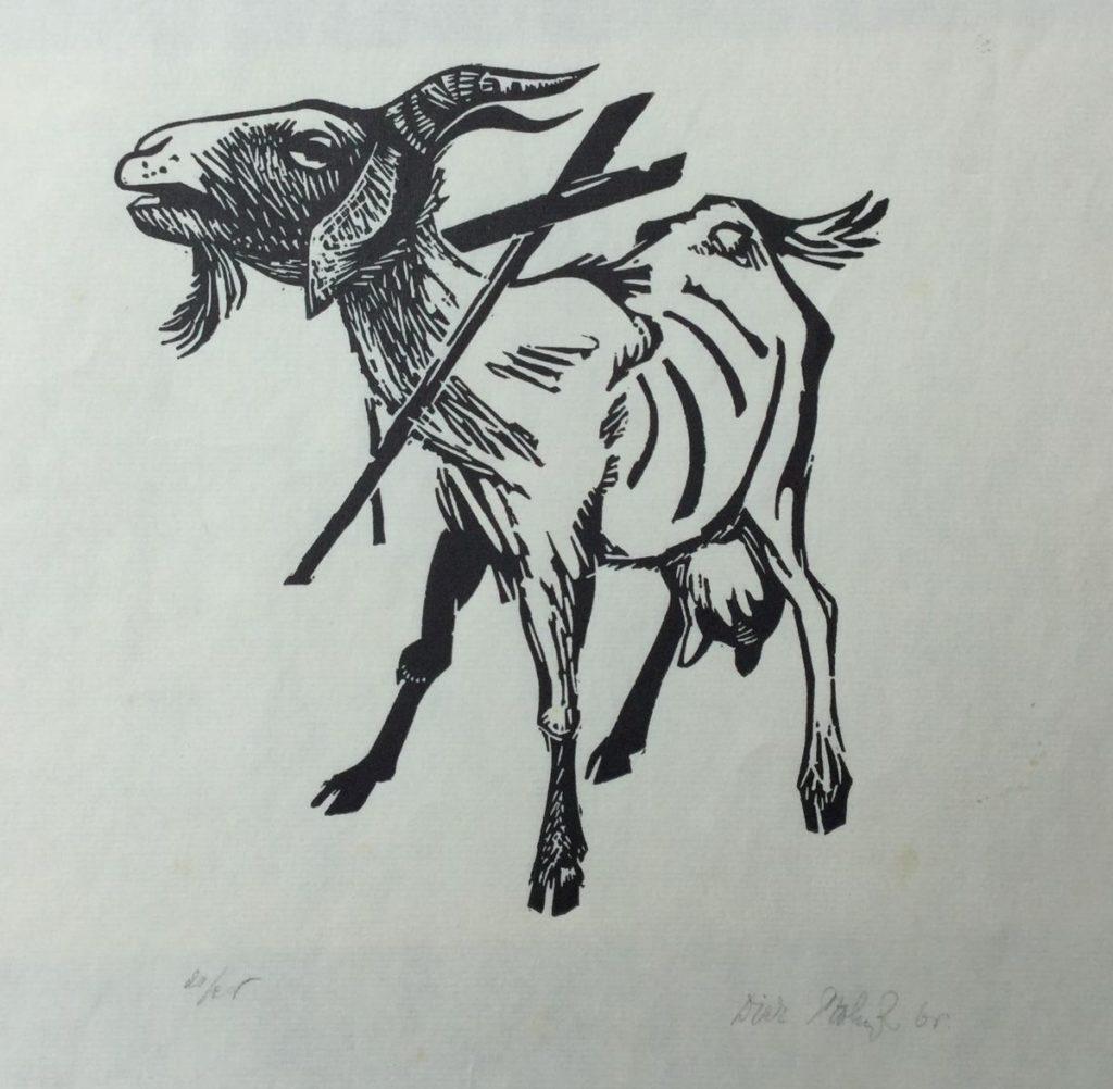 Kunst te koop bij Galerie Wijdemeren van kunstschilder Dick Stolwijk Geitje linosnede op papier, 25,5 x 33 cm rechtsonder gesigneerd en gedateerd 65