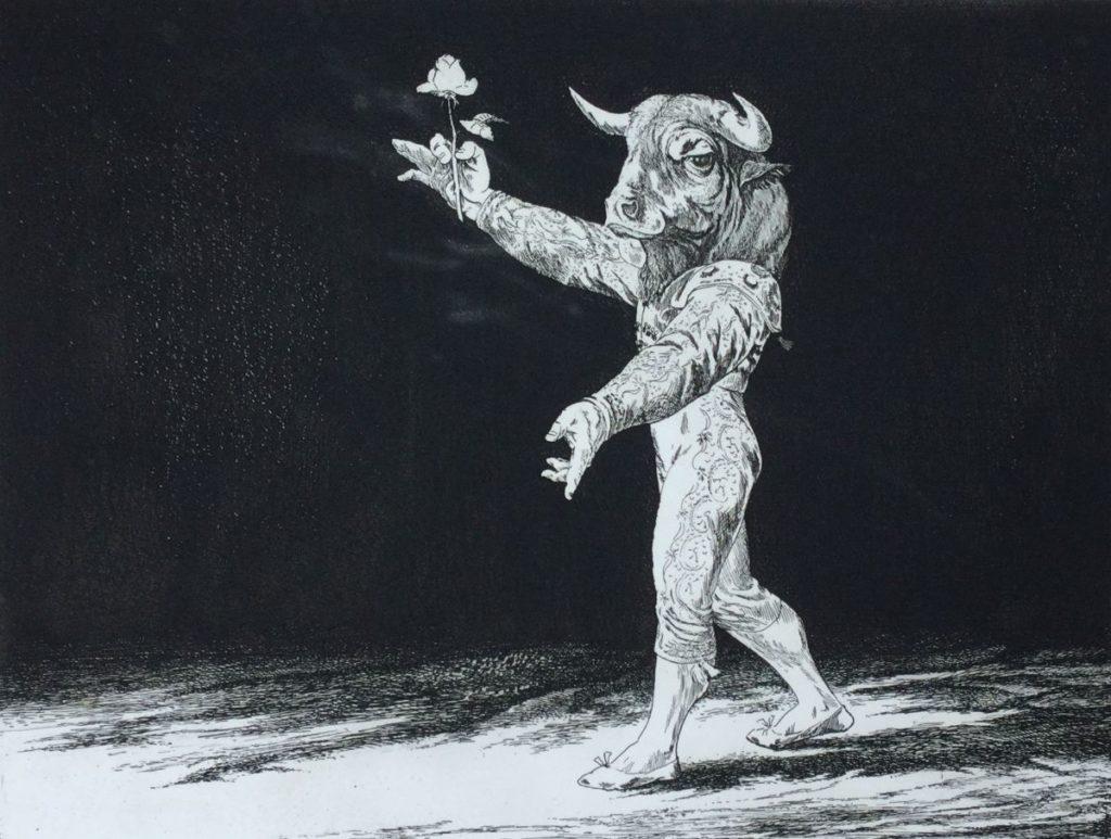 Kunst te koop bij Galerie Wijdemeren vanDick Stolwijk Mino Taurus/stierenvechter ets op papier, 24,5 x 32 cm rechtsonder gesigneerd, oplage 24/25