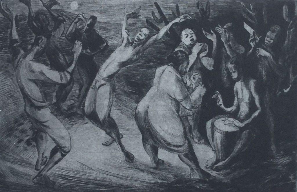 Kunst te koop bij Galerie Wijdemeren van Dick Stolwijk Tamzi ets op papier, 19 x 29,5 cm rechtsonder gesigneerd, oplage 20/35