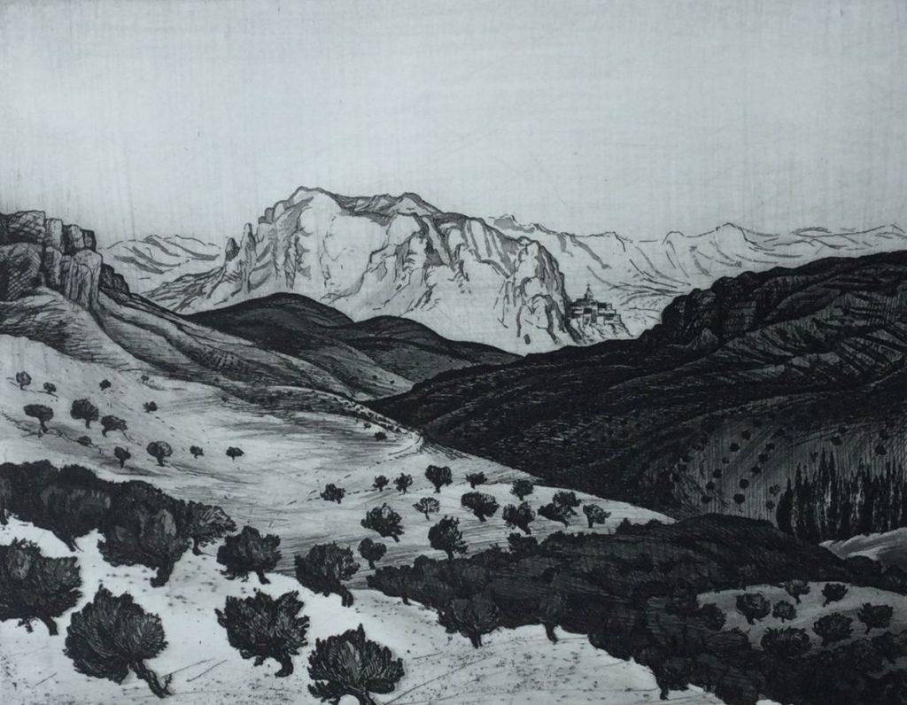 Kunst te koop van kunstschilder Dick Stolwijk Andalucia ets op papier, 20 x 26 cm eigen druk, rechtsonder gesigneerd