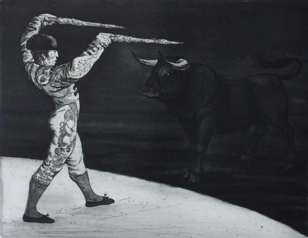 Kunst te koop bij Galerie Wijdemeren van Dick Stolwijk Stierenvechter ets op papier, 20 x 25,5 cm r.o. gesigneerd, proefafdruk