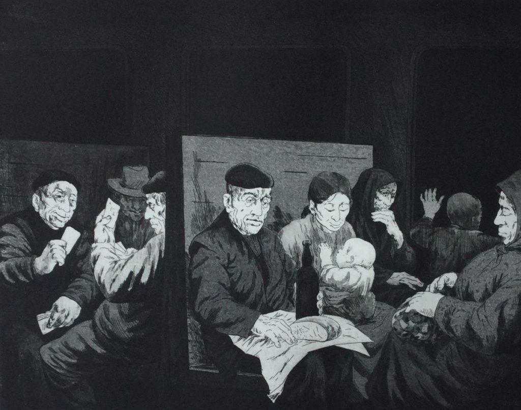 Kunst te koop bij Galerie Wijdemeren van kunstenaar Dick Stolwijk Correo 3 ets op papier, 20 x 25,5 cm rechtsonder gesigneerd, oplage 3/100