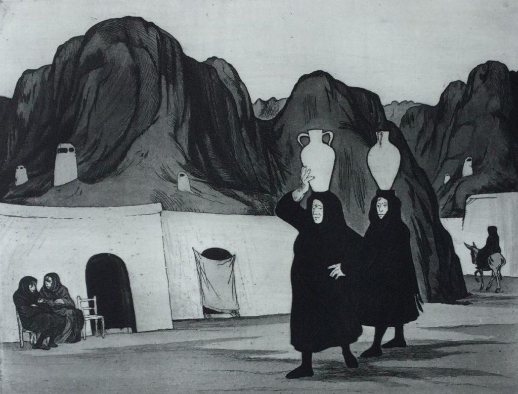 Kunst te koop bij Galerie Wijdemeren van kunstenaar Dick Stolwijk Guaan ets op papier, 20 x 25,5 cm rechtsonder gesigneerd, oplage 3/100