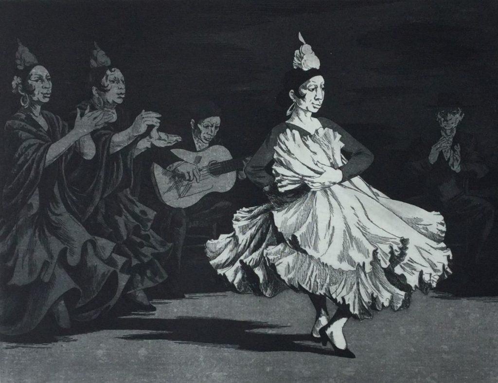 Kunst te koop bij Galerie Wijdemeren van kunstenaar Dick Stolwijk Cuadro Flamenco ets op papier,20 x 26 cm rechtsonder gesigneerd, oplage 3/100