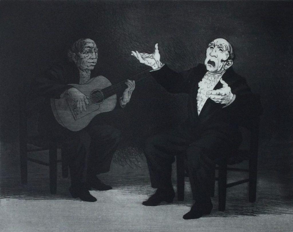 Kunst te koop bij Galerie Wijdemeren van Dick Stolwijk Cante Jondo ets op papier, 20 x 25,5 cm rechtsonder gesigneerd, oplage 3/100