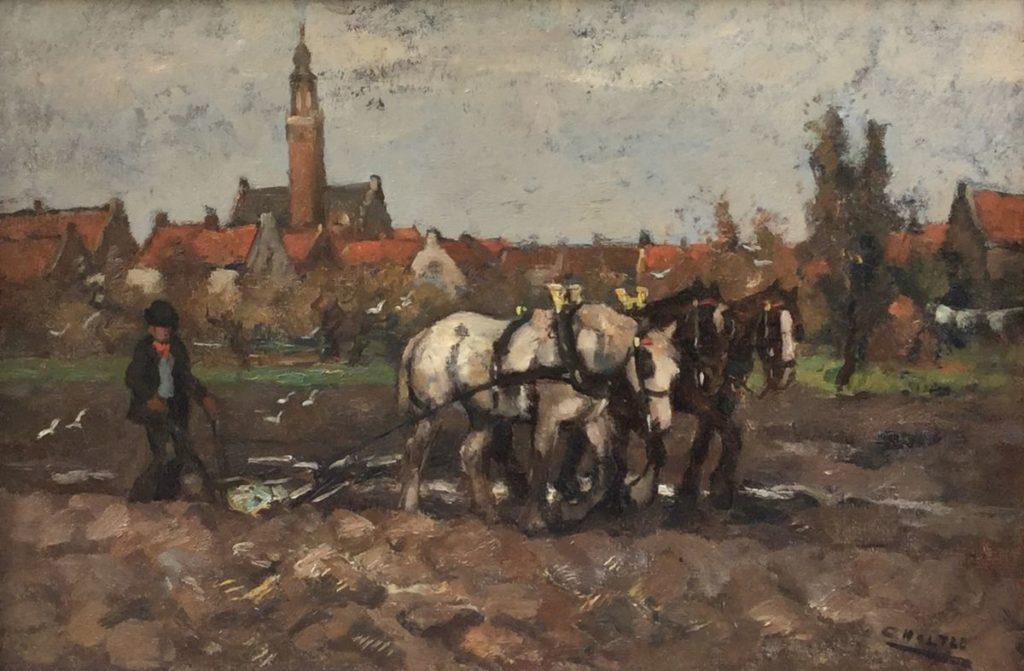 Schilderijen te koop van kunstschilder Cor Noltee Ploegende boer Olie op doek, 40 x 60 cm rechtsonder gesigneerd, Expositie Galerie Wijdemeren Breukeleveen