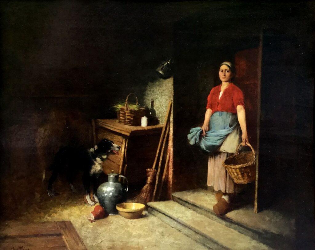 Schilderijen te koop van kunstschilder Louis Mettling Interieur met boerin olie op paneel, paneelmaat 52.5 x 65 cm linksonder gesigneerd, Expositie Galerie Wijdemeren Breukeleveen