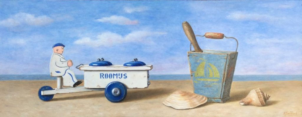 C3916 Annelies Jonkhart Op een mooie zomerdag olie op paneel, 18 x 47 cm r.o. gesigneerd, te koop bij Galerie Wijdemeren Breukeleveen, schilderijen, expositie