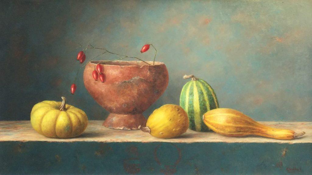 C3918 Annelies Jonkhart Manzales olie op paneel, 35 x 60 cm r.o. gesigneerd, te koop bij Galerie Wijdemeren Breukeleveen, schilderijen, expositie
