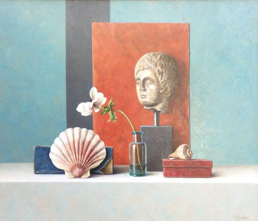 C3919 Annelies Jonkhart Jacobsschelp en anemoon olie op paneel, 42 x 50 cm r.o. gesigneerd, te koop bij Galerie Wijdemeren Breukeleveen, schilderijen, expositie