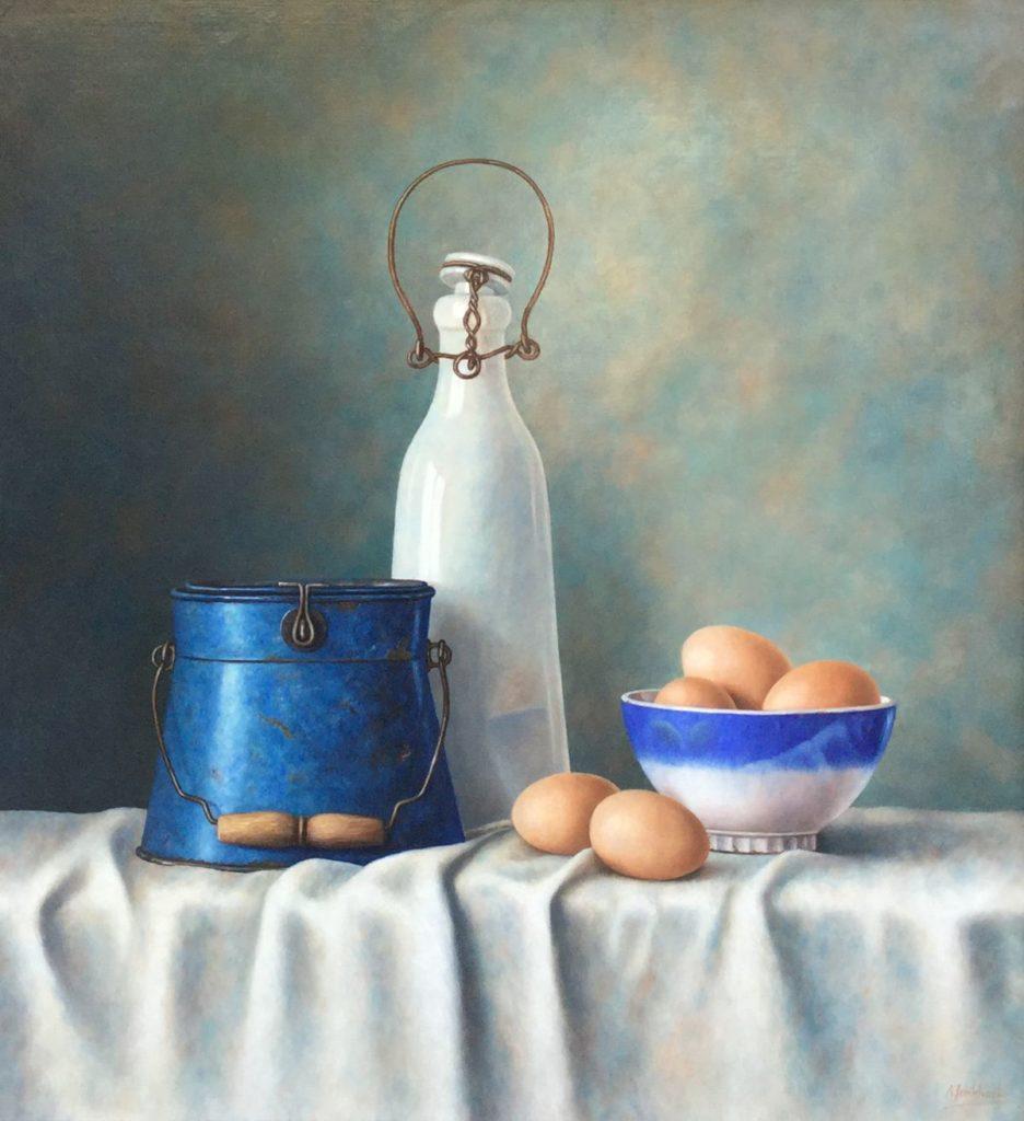 C3920 Annelies Jonkhart Franse melkfles olie op paneel, 51 x 55 cm r.o. gesigneerd, te koop bij Galerie Wijdemeren Breukeleveen, schilderijen, expositie