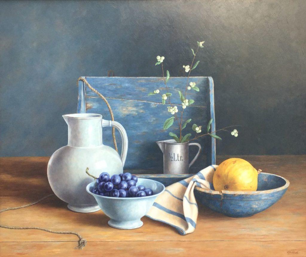 C3926 Annelies Jonkhart Waterkan en kalebas olie op paneel, 73 x 88 cm r.o. gesigneerd, te koop bij Galerie Wijdemeren Breukeleveen, schilderijen, expositie