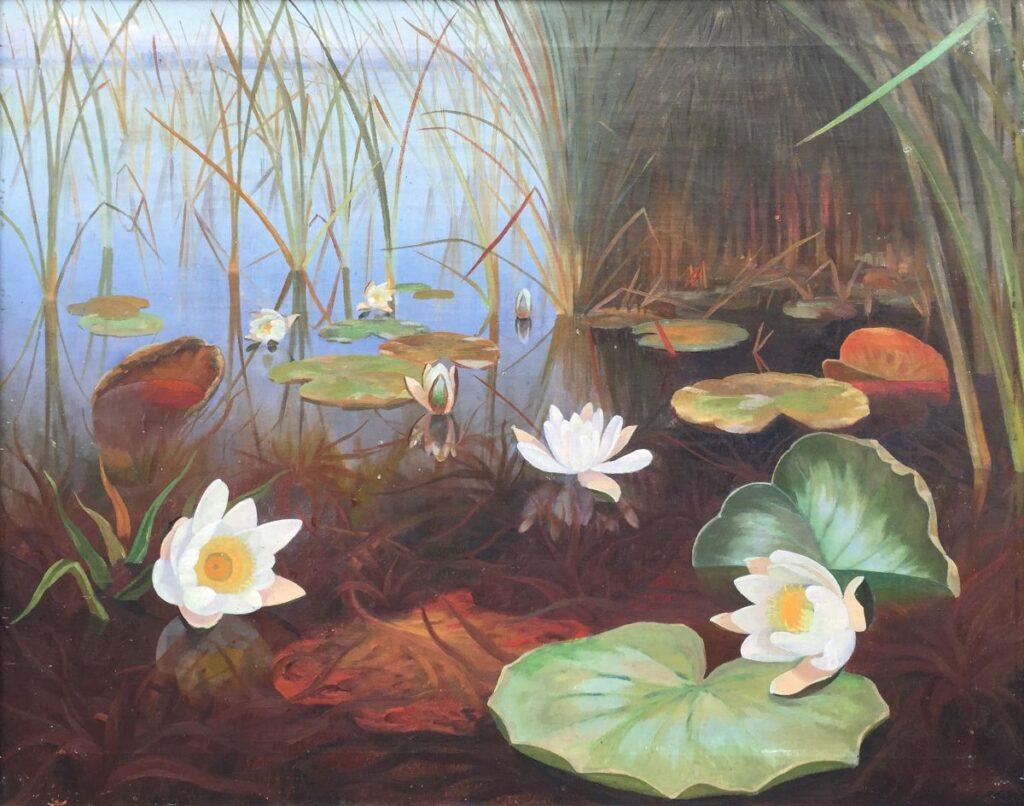 Kunstenaar Dirk Smorenberg C3928 Dirk Smorenberg Waterlelies in de plas olie op doek, 55 x 70 cm verkocht