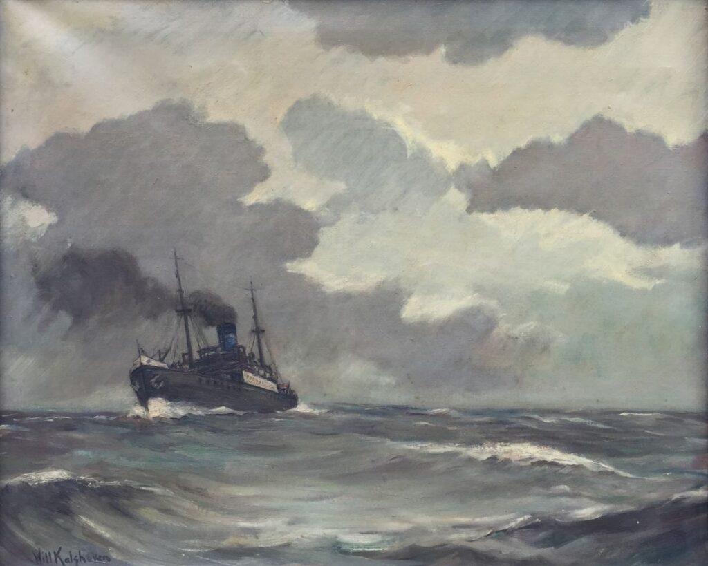 Kunstenaar Willem C. Kalshoven C3929W, Will Kalshoven Op weg naar de haven olie op doek, 60 x 70 cm, l.o. gesigneerd en gedateerd Heiloo 1950  Verkocht