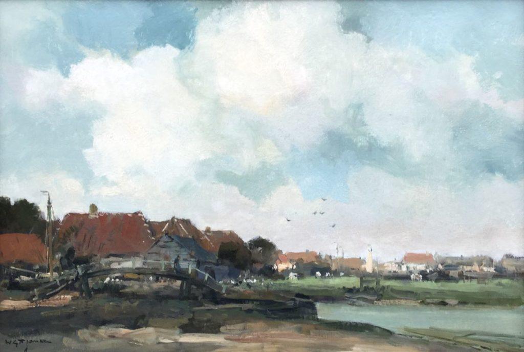 Schilderijen te koop van kunstschilder WGF Jansen dorpshaven olie op doek, 40,5 x 60,5 cm linksonder gesigneerd, Expositie Galerie Wijdemeren Breukeleveen