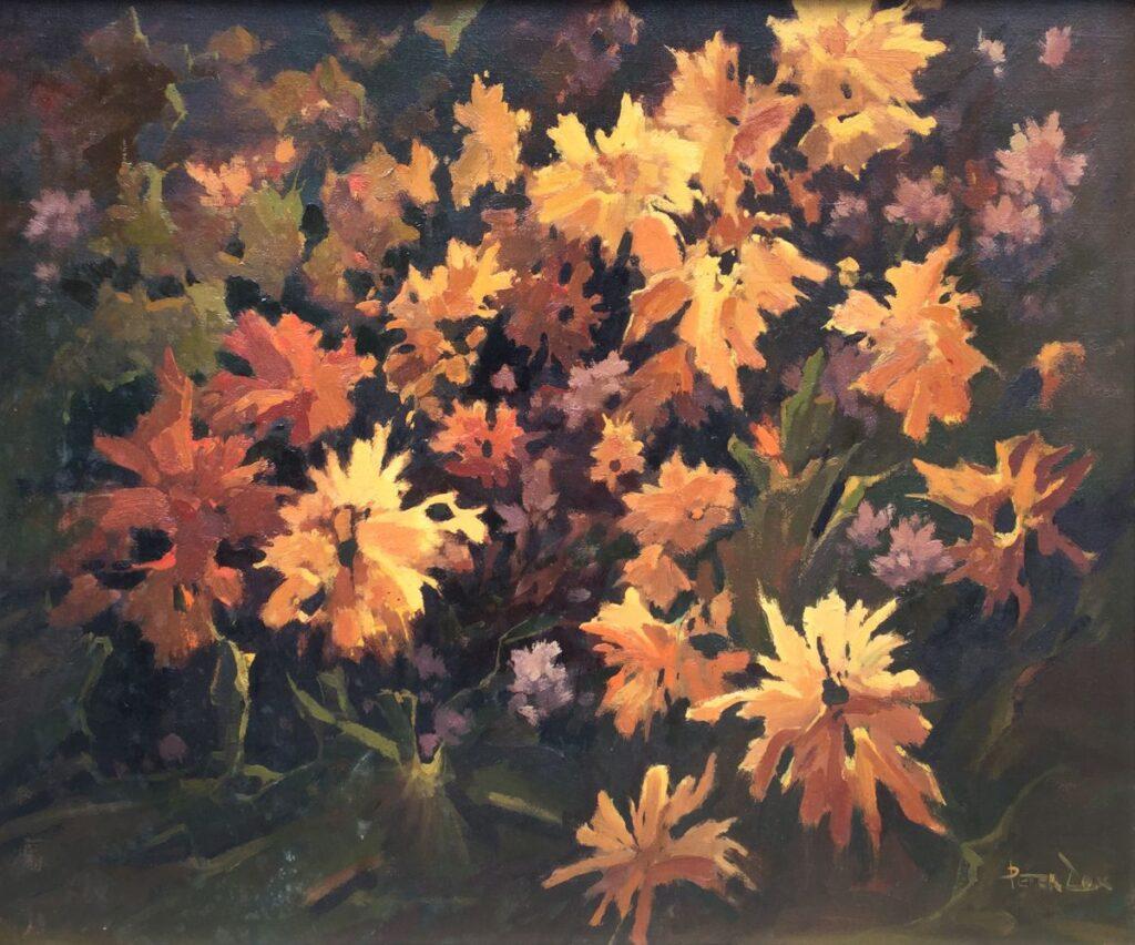 Kunstenaar Peter Cox C3933, Peter Cox 'Bloemencompositie in herfstkleuren' Olie op doek Beeldmaat: 50 cm x 60 cm Rechtsonder gesigneerd