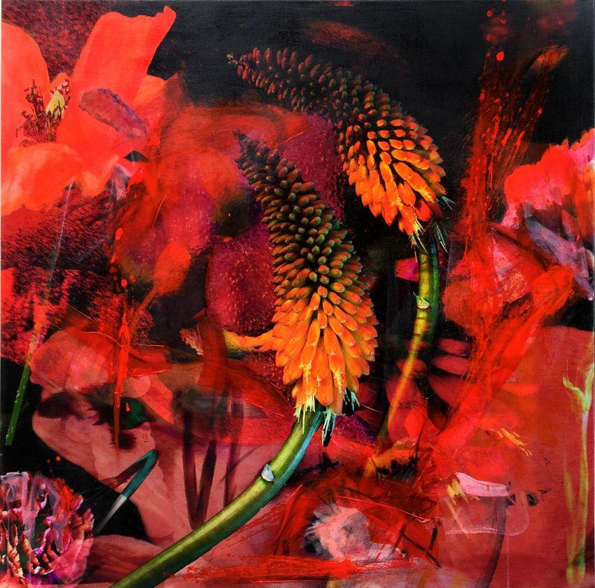 schilderijen te koop van kunstschilder, Yasmin Hargreaves modern stilleven gemengde techniek, 100 x 100 cm gesigneerd op achterzijde in oplage van vijf, expositie, galerie wijdemeren breukeleveen