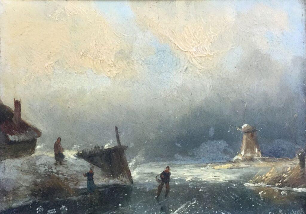 Kunstenaar Charles Leickert C3953 Charles Leickert Riviergezicht bij winter olie op paneel, 12 x 16,5 cm gesigneerd r.o. verkocht