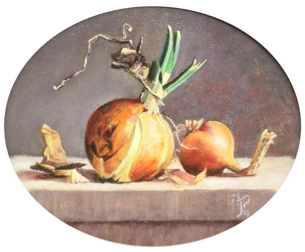 Kunst te koop bij Galerie Wijdemeren door kunstschilder Arnold Pieterse Stilleven met uitjes olie op paneel, 18 x 22 cm rechtsonder gesigneerd
