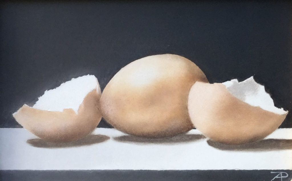 Schilderijen te koop van kunstschilder Arnold Pieterse stilleven met eitjes olie op paneel, 9,1 x 14,3 cm rechtsonder gemonogrammeerd, Expositie Galerie Wijdemeren Breukeleveen