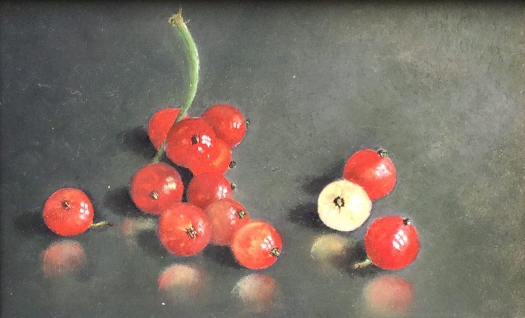 Schilderijen te koop van kunstschilder Arnold Pieterse stilleven met besjes olie op paneel, gemonogrammeerd, Expositie Galerie Wijdemeren Breukeleveen