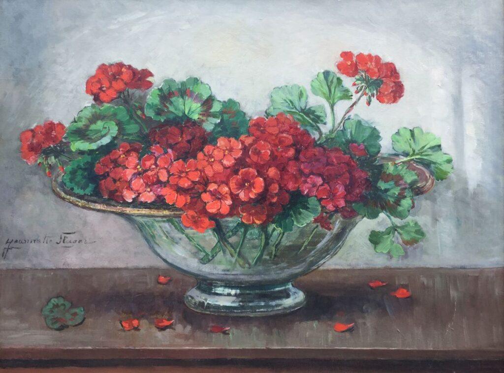 Schilderijen te koop, kunstschilder Jeannette Slager Stilleven met geraniums Olie op doek, beeldmaat: 60 x 80 cm Linksonder gesigneerd, Expositie Galerie Wijdemeren Breukeleveen