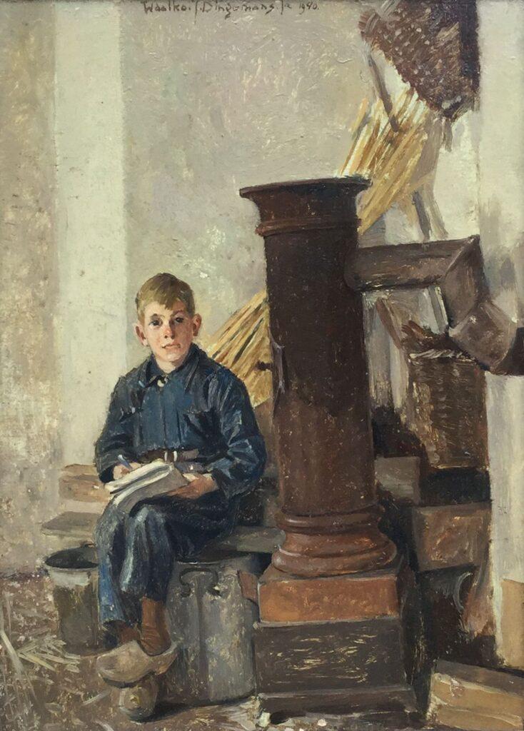 Kunstenaar Waalko Jans Dingemans C3980, W.J. Dingemans Waalko olie op paneel, 25 x 18 cm midden boven gesigneerd en gedateerd 1940 verkocht