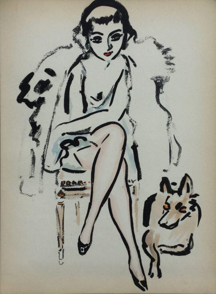 Kunstenaar Kees van Dongen C3988W, Kees van Dongen, Jeune femme au chien  Pochoirdruk uit Ed. des Courières, 1925 (Henri Floury, Parijs).  26,5 x 20,5 cm.  Afgebeeld in monografie 'Kees van Dongen - Het Complete Grafische Werk'