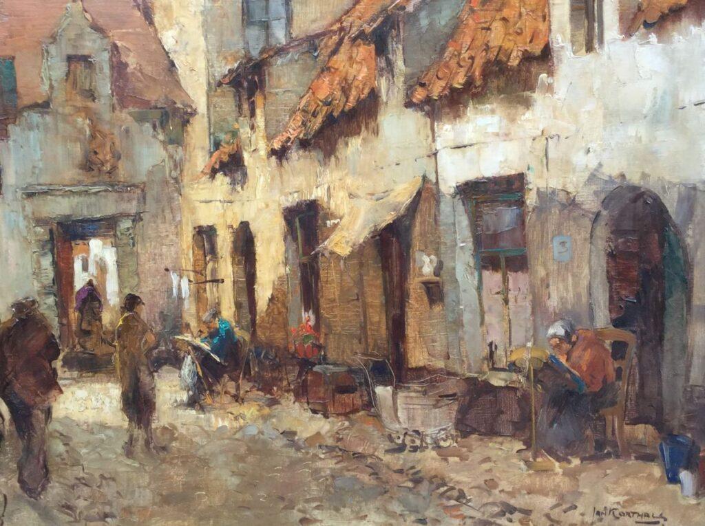 Schilderijen te koop van kunstschilder Jan Korthals Kantklosserssteeg Brugge Olie op doek, gesigneerd, Expositie Galerie Wijdemeren Breukeleveen