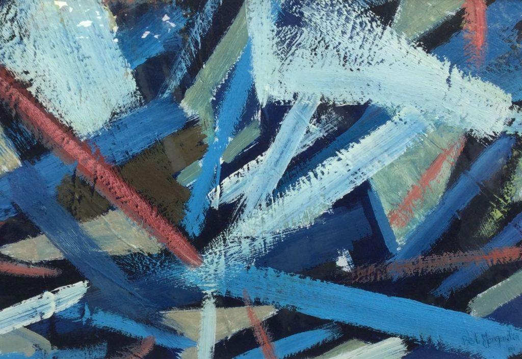 Schilderijen te koop van kunstschilder, Bert Jongenelen titel: Samma Vayana nr.34 gemengde technieken op papier, beeldmaat 35 x 52 cm rechtsonder gesigneerd en gedateerd '81, expositie Galerie Wijdemeren Breukeleveen