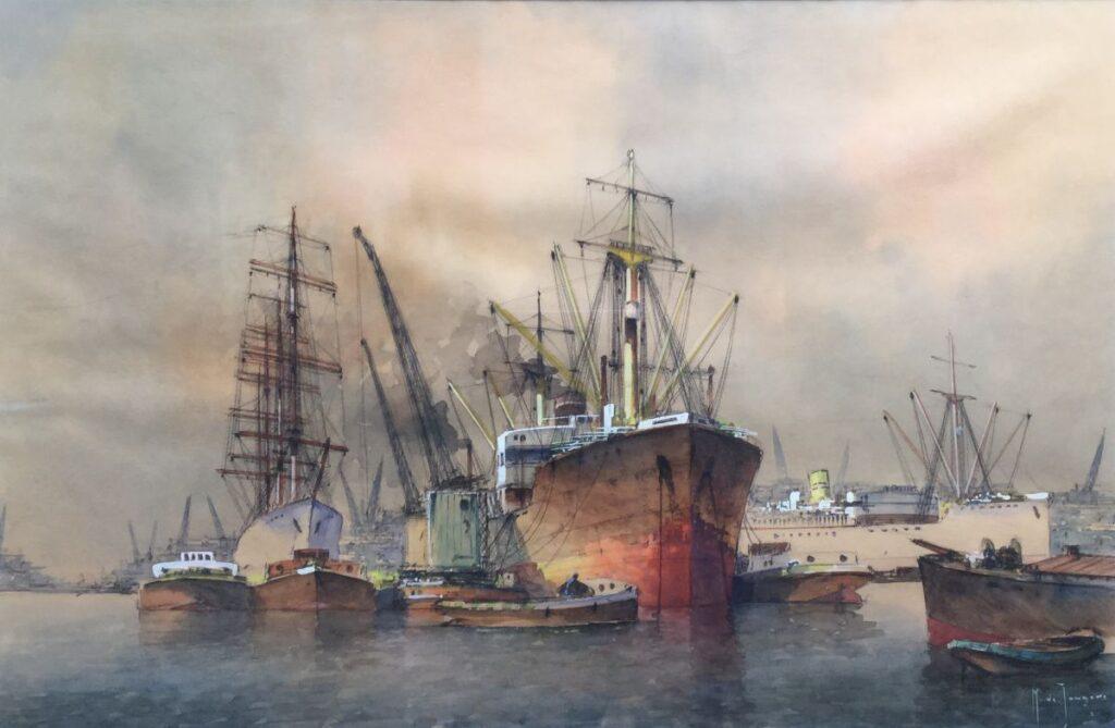 Schilderijen te koop van kunstschilder Marius de Jongere Havengezicht, Expositie Galerie Wijdemeren Breukeleveen