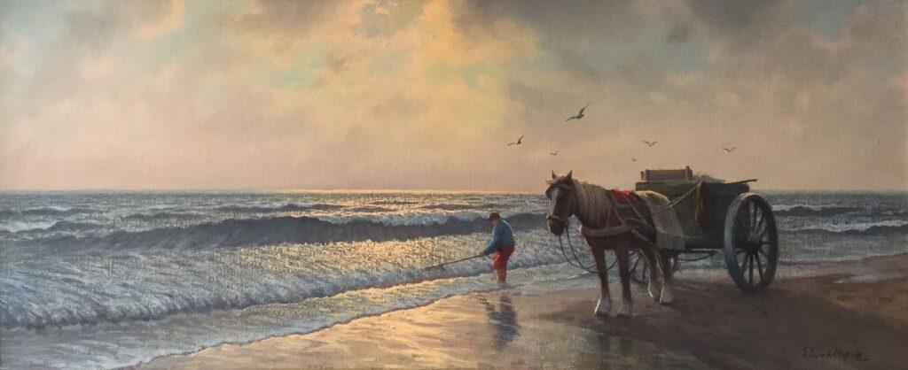 Schilderijen te koop, kunstschilder JL vd Meide Schelpenvisser olie op doek, doekmaat 50,5 x 121 cm r.o. gesigneerd, expositie Galerie Wijdemeren Breukeleveen
