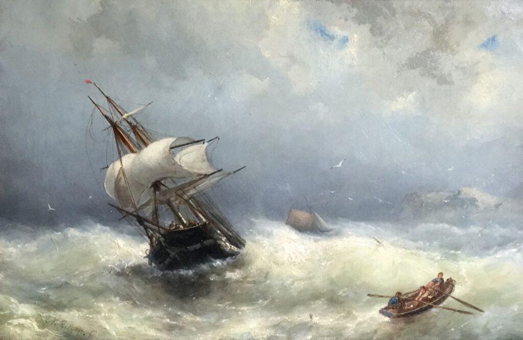 schilderijen te koop van kunstschilder, Nicolaas Riegen Schipbreuk op zee olieverf op doek, doekmaat 45 x 68 cm linksonder gesigneerd, expositie, galerie wijdemeren breukeleveen