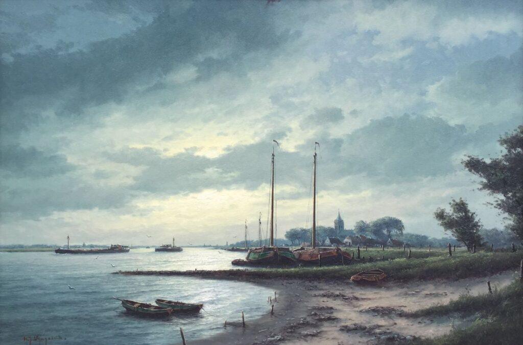 C4014 HJ Wijngaard Boten aan de IJssel olie op doek, 80 x 120 cm gesigneerd linksonder, galerie wijdemeren breukeleveen