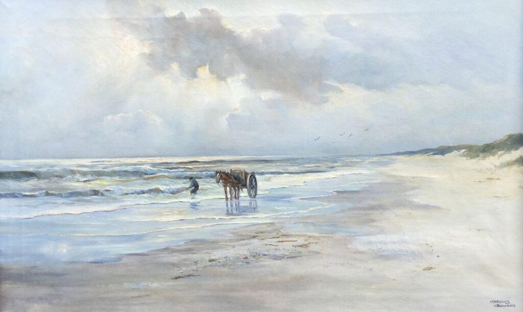 Kunstenaar Meeuwis van Buuren C4020, Meeuwis van Buuren Schelpenvisser, olie op doek 50,5 x 80,5 cm, r.o. gesigneerd verkocht