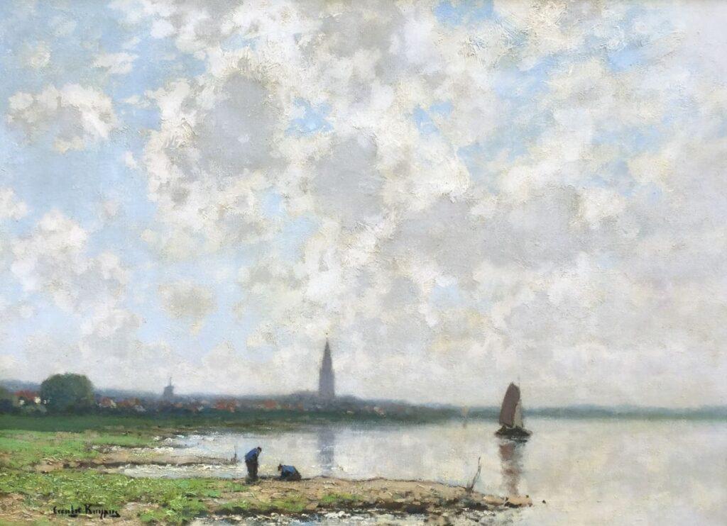 C4022, Cornelis Kuypers 'Bootje op de plas' Olie op paneel,57 x 79 cm Linksonder gesigneerd, te koop bij galerie wijdemeren breukeleveen