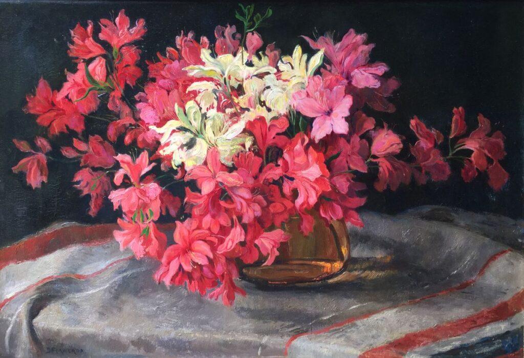 Kunstenaar Barend Ferwerda C4024 Barend Ferwerda stilleven met bloemen op doek olie op doek, 50.5 x 71 cm linksonder gesigneerd particuliere collectie