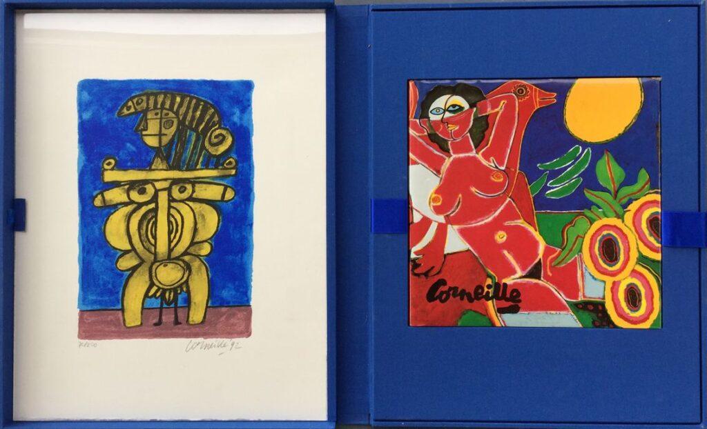 Kunstenaar Guillaume Corneille C4026, Corneille Blauwe map met 3 zeefdrukken en boek, alle zeefdrukken: oplage 70/250 Getekend 1992 Beeldmaat: 32 cm x 21 cm Mapmaat: 51,5 cm x 40 cm verkocht